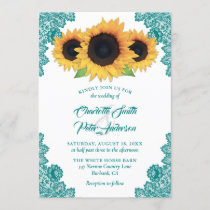 Romantic Rustic Teal Lace Sunflower Wedding Invitation