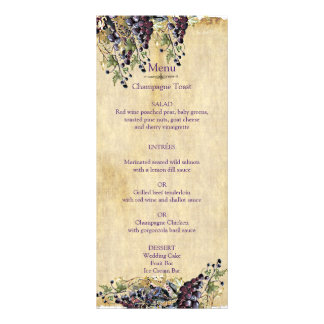 Romantic, Rustic, Winery Wedding Menu