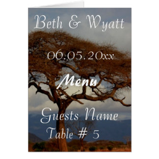 Romantic Safari Africa Bridal Shower Menu Cards