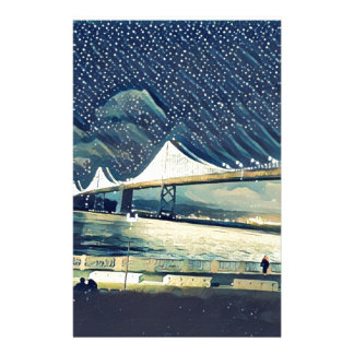 Romantic San Francisco SF Bay Bridge Lights Stationery