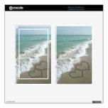 Romantic Sand Hearts Beach Kindle Fire Decal