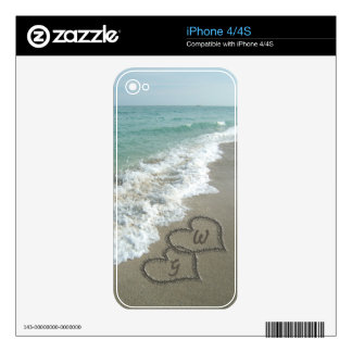 Romantic Sand Hearts Beach Skin For The iPhone 4