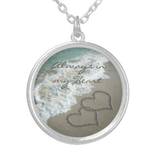 Romantic Sand Hearts on the Beach Personalized Round Pendant Necklace