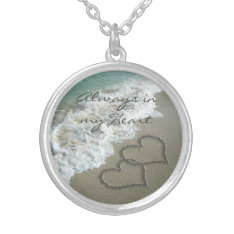 Romantic Sand Hearts On The Beach Personalized Silver Plated Necklace at Zazzle