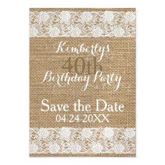 Romantic Save the Date 40th Birthday Magnetic Magnetic Card