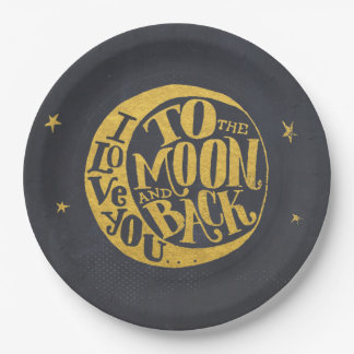 Romantic Saying With Moon | Gold Black Background Paper Plate