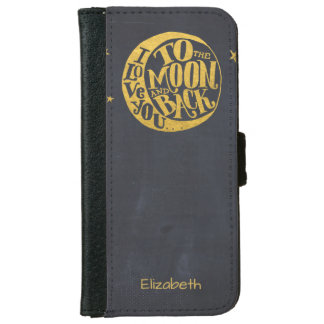 Romantic Saying With Moon | Gold Black Design Wallet Phone Case For iPhone 6/6s