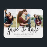 """Romantic Script 3 Photo Collage Save The Date Magnet<br><div class=""""desc"""">This 3-photo save the date magnet features a beautiful free-spirited hand-painted script. Add an additional photo and custom text to the back.</div>"""