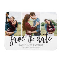 Romantic Script 3 Photo Collage Save The Date Magnet