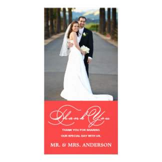 ROMANTIC SCRIPT CORAL WEDDING THANK YOU PHOTO CARD