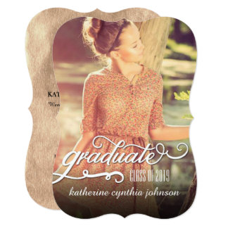 Romantic Script Foil Graduation Photo Announcement