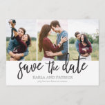 """Romantic Script Photo Collage Save The Date<br><div class=""""desc"""">This minimal 3-photo save the date card features a beautiful free-spirited hand-painted script. Add an additional photo and custom text to the back.</div>"""