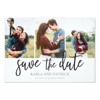Romantic Script Photo Collage Save The Date Card