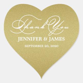 Romantic Script Thank You Wedding Favor Label Heart Sticker