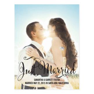 Romantic Script Wedding Announcement - Black Postcard
