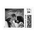 Romantic Script   Wedding Photo Thank You Stamp at Zazzle