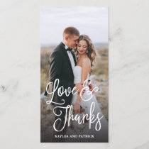 Romantic Script Wedding Thank You Photo Card