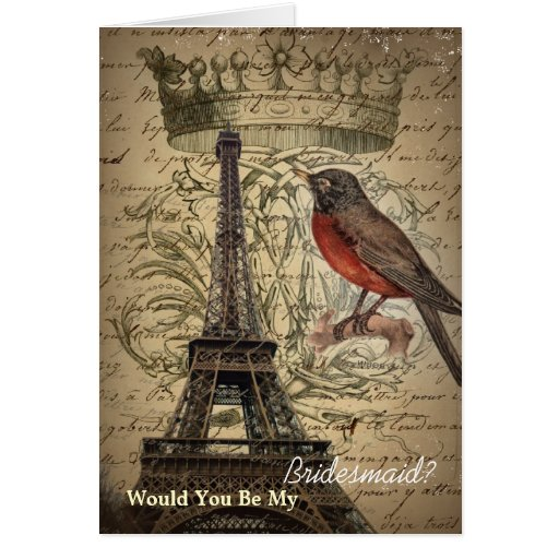 romantic scripts eiffel tower paris bridesmaid cards