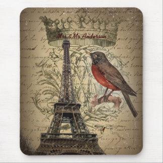 romantic scripts eiffel tower paris wedding mouse pad