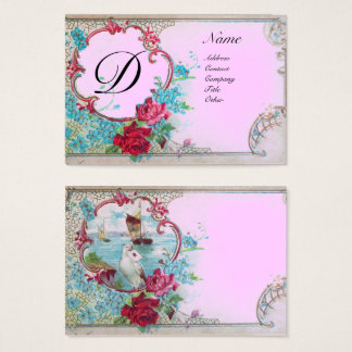 ROMANTIC SEA SCENE WITH DOVE AND ROSES MONOGRAM BUSINESS CARD