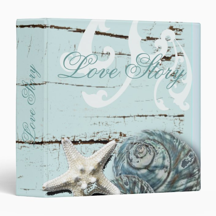 Romantic Seashell Beach Wedding Album Binder Zazzle Com