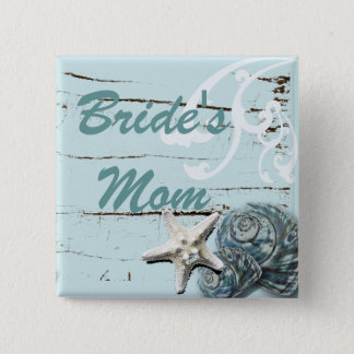 Romantic SeaShell Beach Wedding Favor Button