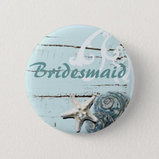 Romantic SeaShell Beach Wedding Favor Pinback Button