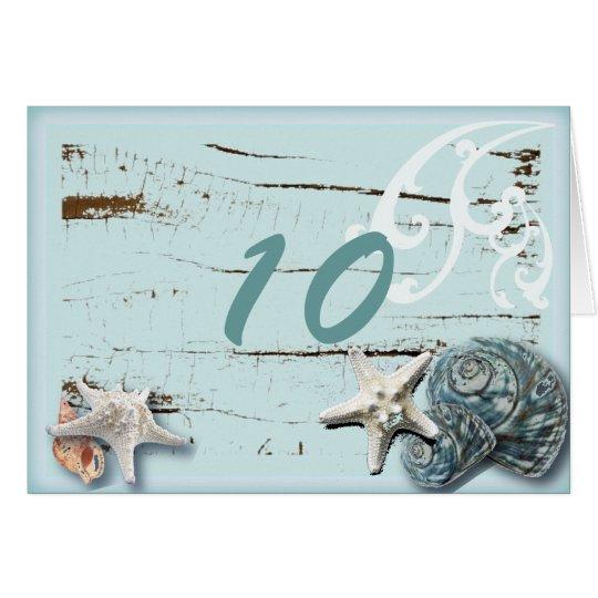 Romantic SeaShell Beach Wedding Table Number Card