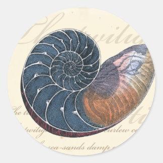 Romantic Seashell Classic Round Sticker