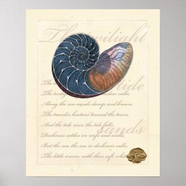 Beach Themed Romantic Seashell Poster