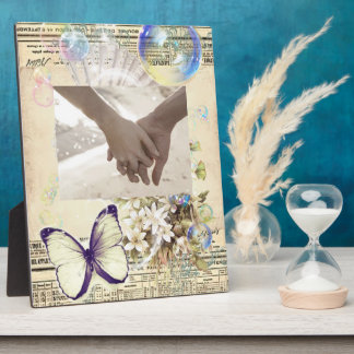 romantic seashells butterfly botanical wedding plaque