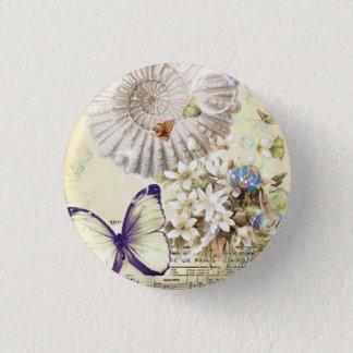 romantic seashells butterfly wedding favor button