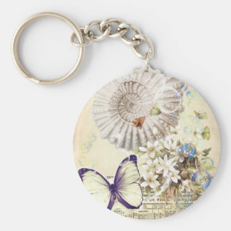 romantic seashells butterfly wedding favor keychain