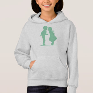 Romantic silhouette couple boy and girl kissing hoodie