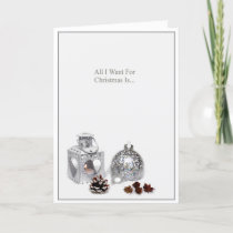 Romantic Silver Ornaments Christmas Holiday Card