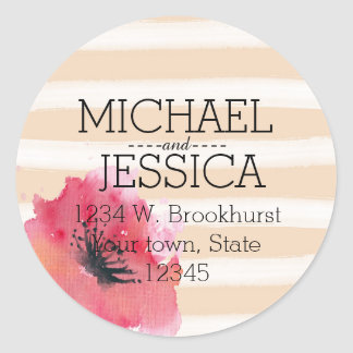 Romantic Simple Stripes Floral address Classic Round Sticker