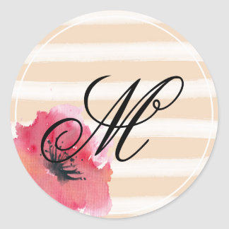 Romantic Simple Stripes Floral Monogram Script Classic Round Sticker