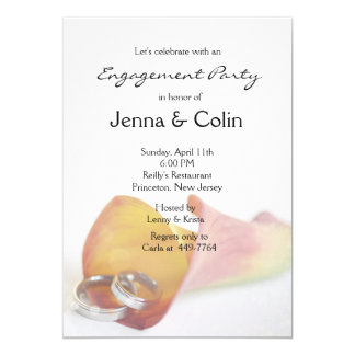 Romantic Simplicity Calla Lily Engagement Party Card