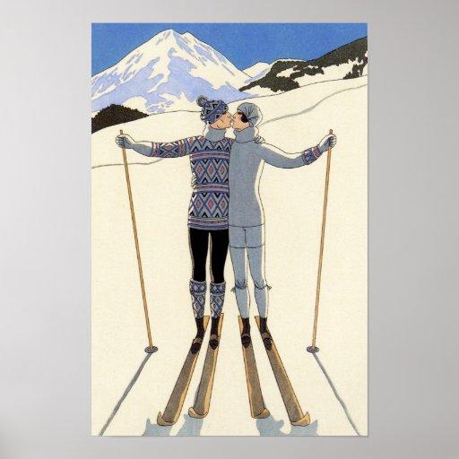 Romantic Skiing Couple Print