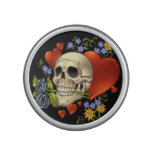 Romantic Skull Skeleton with Hearts and Flowers Bluetooth Speaker