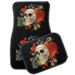 Romantic Skull Skeleton with Hearts and Flowers Car Mat