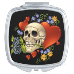 Romantic Skull Skeleton with Hearts and Flowers Compact Mirror