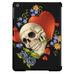 Romantic Skull Skeleton with Hearts and Flowers Cover For iPad Air