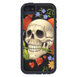 Romantic Skull Skeleton with Hearts and Flowers Cover For iPhone 5