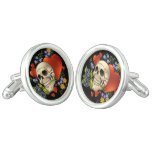 Romantic Skull Skeleton with Hearts and Flowers Cufflinks