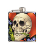 Romantic Skull Skeleton with Hearts and Flowers Flasks