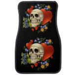 Romantic Skull Skeleton with Hearts and Flowers Floor Mat