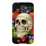 Romantic Skull Skeleton with Hearts and Flowers Galaxy S5 Covers