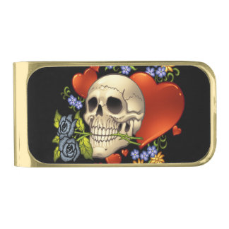 Romantic Skull Skeleton with Hearts and Flowers Gold Finish Money Clip