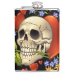 Romantic Skull Skeleton with Hearts and Flowers Hip Flasks